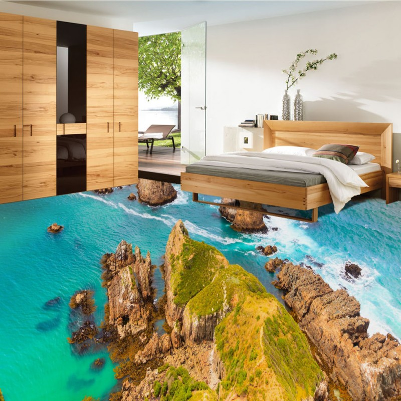 Free Shipping Ocean island stone spray 3d living room bathroom floor non-slip self-adhesive mall office bedroom flooring mural free shipping marble texture parquet flooring 3d floor home decoration self adhesive mural baby room bedroom wallpaper mural