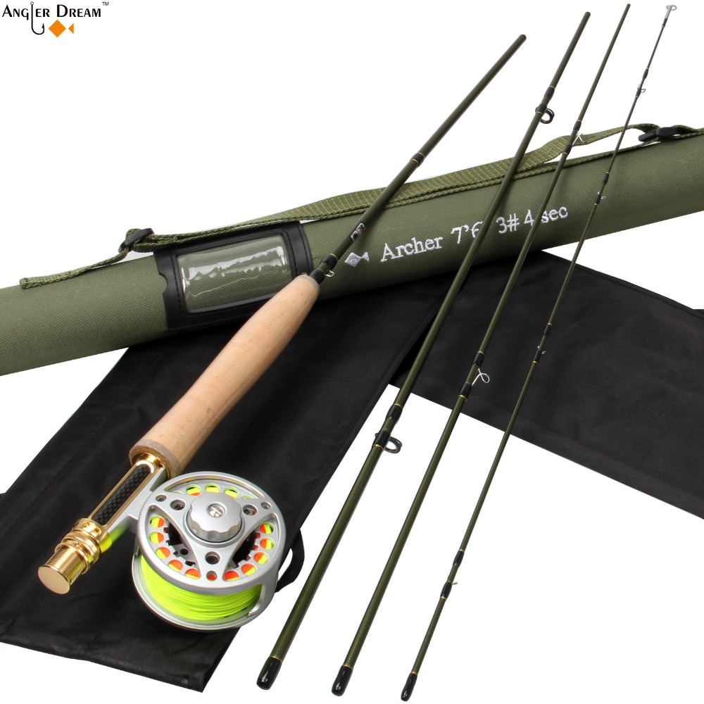 "Fly Fishing Rod Combo 7'6"" 3WT Carbon Fiber Fly Fishing Rod 3/4WT Large Arbor Aluminum Fly Reel & Line Backing Leader"