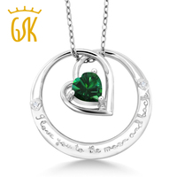 925 Sterling Silver I Love You To The Moon And Back Emerald Heart Pendant