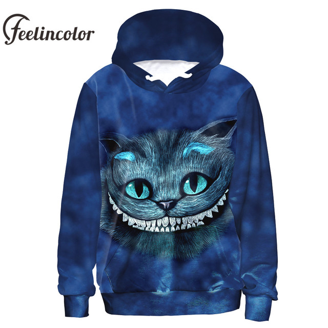 41b27ad7b5a2 Feelincolor Hot Sale 3d Hoodies Cheshire Cat Sweatshirt Men Women Autumn  Winter Lover moletom Top Alice In Wonderland Cosplay