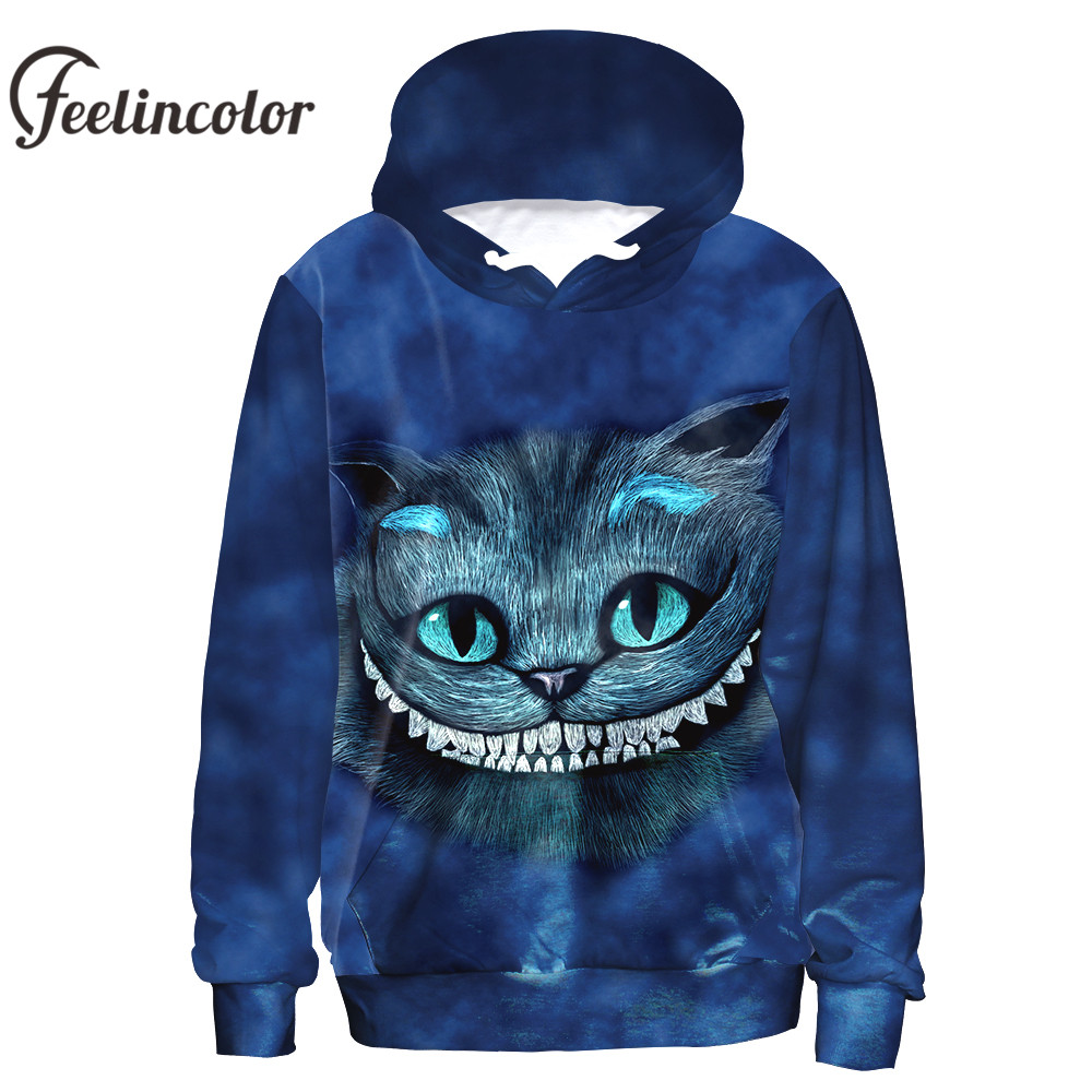 Feelincolor Vendita Calda 3d Felpe Cheshire Cat Felpa Da Uomo/Donne di Autunno Amante Inverno moletom Top Alice Nel Paese Delle Meraviglie Cosplay