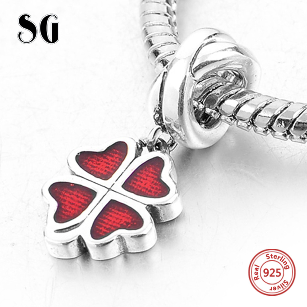 Silver Galaxy Charms Beads for Women Lucky Clover Fits Authentic Pandora Bracelets 925 Sterling Silver Jewelry Accessories DIY