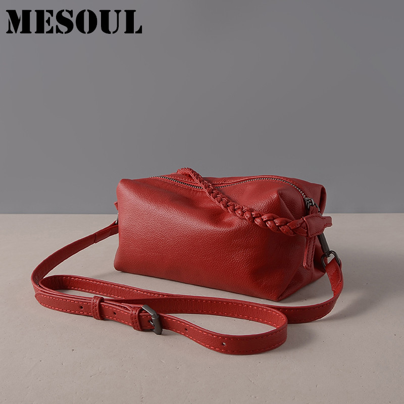 Summer Soft Cow Leather Bag Fashion Small Totes Brand Women Handbag Red 100% Genuine Leather Shoulder Bag Ladies Messenger Bags