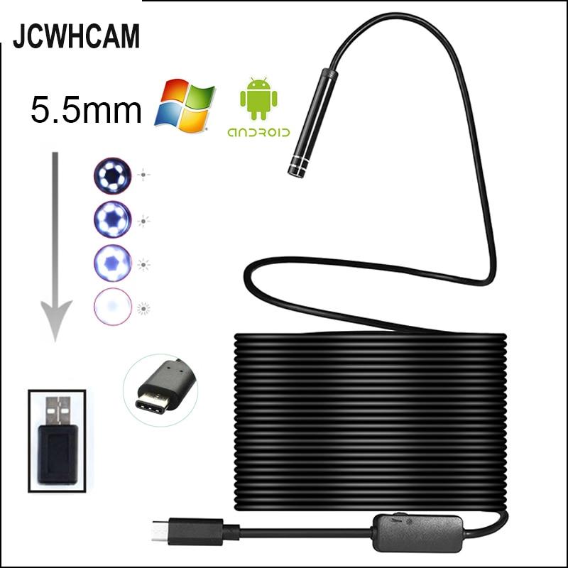 JCWHCAM Android USB Type C Endoscope Camera 10M Flexible Snake Hard Wire USB Type C Waterproof Tube Inspection Tools Camera микрофоны madboy c tube 10