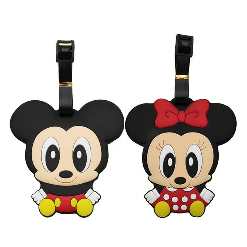 Cartoon Minnie Mickey Silica Gel Luggage Tag Travel Accessories Women Portable Label Suitcase ID Address Holder Baggage Boarding