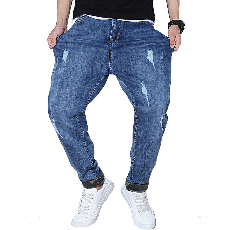 2017 new arrive male loose autumn winter big  crotch  hole plus size plus size male harem denim jeans long pencil casual jeans