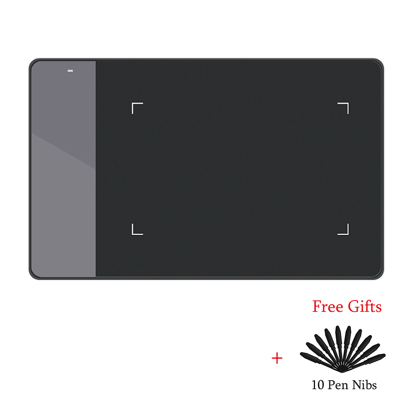 HUION 420 Digital gráficos del dibujo de la tableta (perfecto para osu) tableta de presión de la pluma firma Pad con diez plumas de pluma blanco y negro