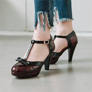 Image 2 - YMECHIC 2019 אופנה פטנט שחור ירוק אדום פלטפורמת ספייק עקבים גבוהים Bowtie המפלגה לוליטה נשים נעלי קיץ משאבות בתוספת גודל