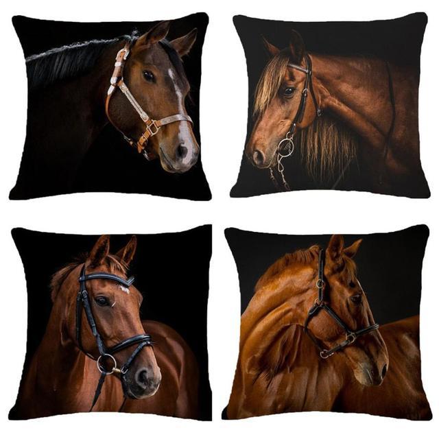 Creative Pillow Fashion Cartoon Animal Horse Home Decor Cotton Linen Cushion Cover 45cm*45cm #35