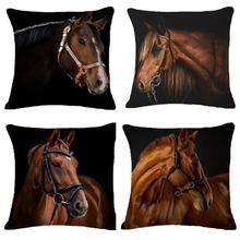 Housse de coussin en lin de coton, motif créatif à la mode, dessin animé Animal cheval, housse de coussin, décoration pour la maison, 45cm * 45cm #35