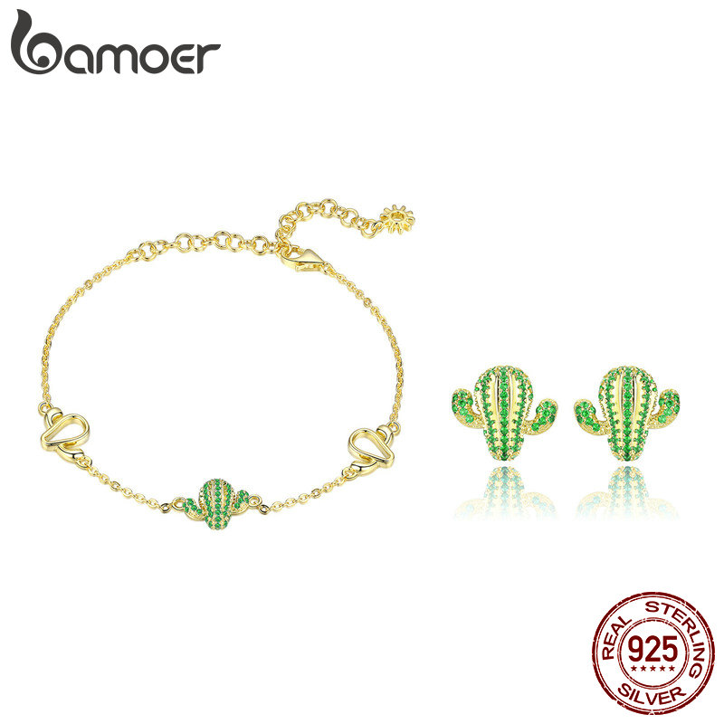 BAMOER Authentic 925 Sterling Silver Cactus Green CZ Plant Bracelets Stud Earrings Jewelry Set Sterling Silver Jewelry Gift bamoer authentic 925 sterling silver red cz evil and angel pendant necklace earrings jewelry set sterling silver jewelry zh067
