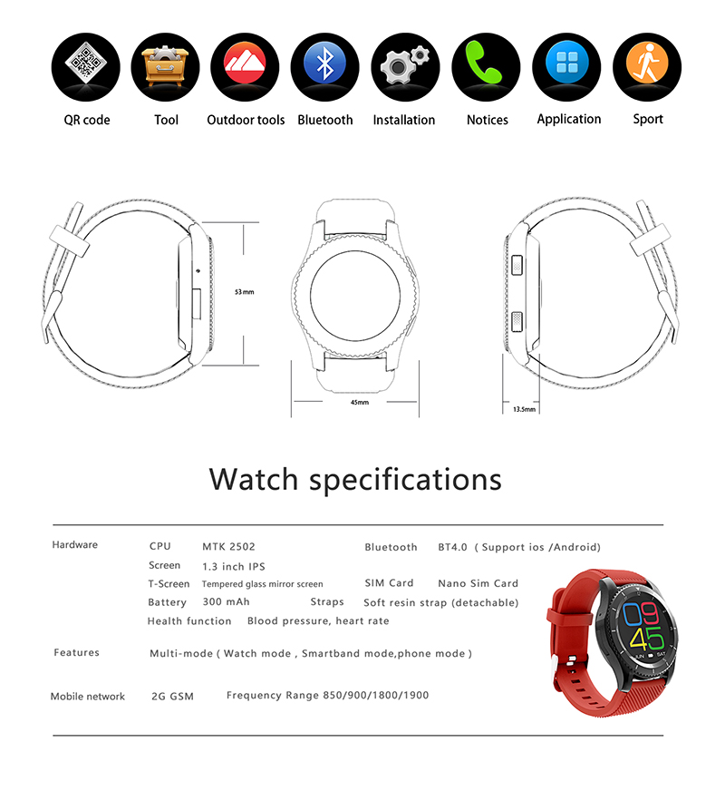 SCOMAS G8 Sports Woman Smart Watches Clock Heart Rate Monitor Fitness Tracker with SIM Card Smartwatch Phone for IOS Android