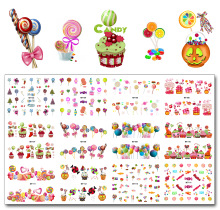 Nail 12 Sheets / Lot MT103-114 Colorful Candy Christmas Candy Cake Nail Art Vanndekal Klistremerke Til Nail Art Tattoo Decoration
