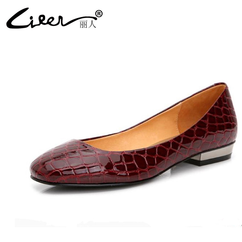 Liren 2018 Spring Women Flats Fashion Round Toe Red/Black Pu Casual Female Leather Flat Shoes Women Soft Shallow Women Shoes 43 baiclothing women casual pointed toe flat shoes lady cool spring pu leather flats female white office shoes sapatos femininos