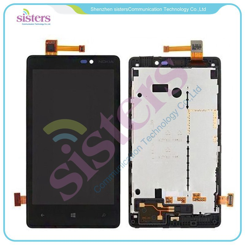 10pcs Wholesale LCD Display Touch <font><b>Screen</b></font> Digitizer Assembly With Frame for Nokia <font><b>Lumia</b></font> <font><b>820</b></font> Free Shipping With Tracking No image