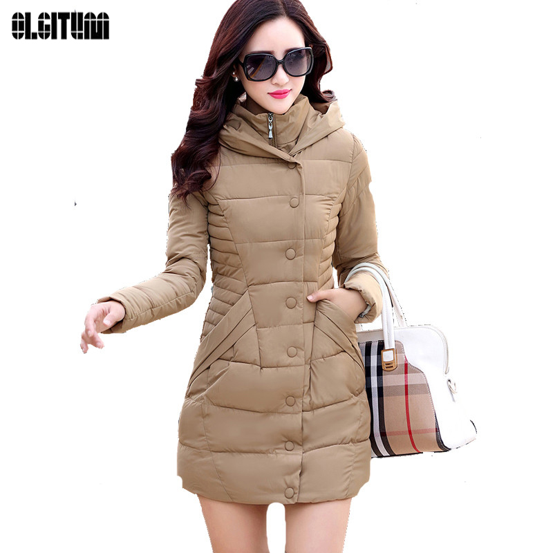 OLGITUM Woman Coat Light Slim Solid Jackets White Duck Down Parkas Long Jacket Female large size S-3XL LJ870E bck new junior s size xl solid light pink seamed sheer button down shirt $29