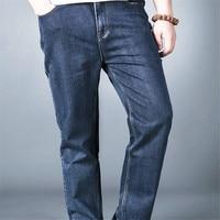 2017 Fashion Brand Classic Men S Full Length Jeans Blue Straight Pants High Waist Stretch Denim