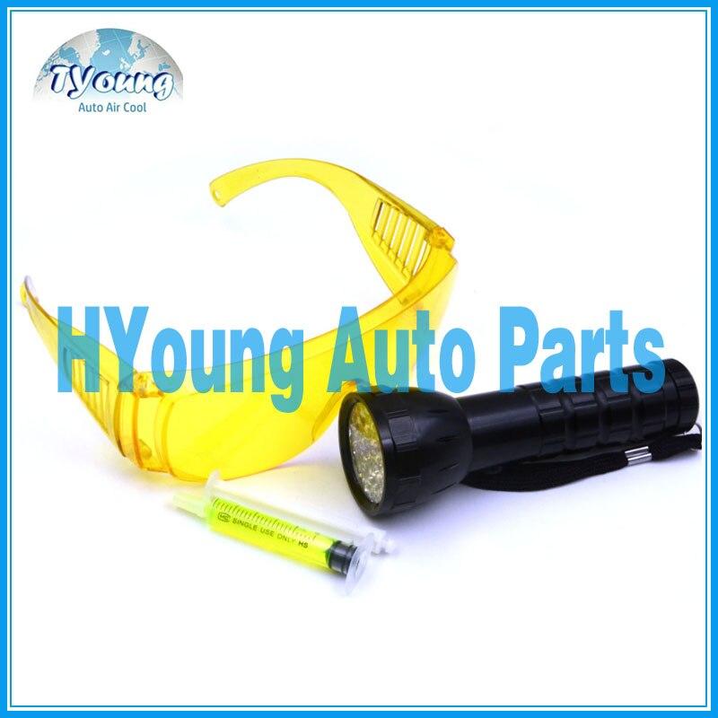 auto ac repair tools , battery powered Uv led lamps, including Leak Glasses & Leak Detection Flashlight & Fluorescent Oil