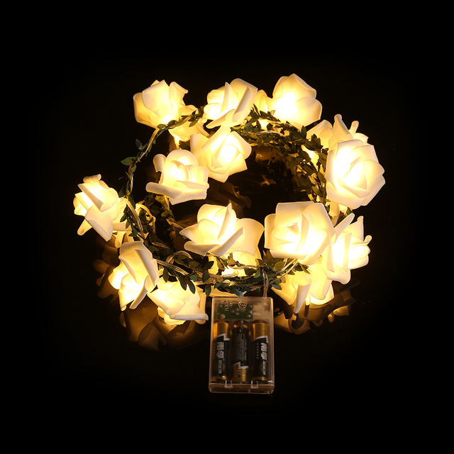 battery operated leaf rose flowers led string lights romantic valentines gift home party - Valentine String Lights