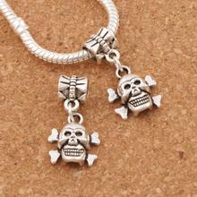 Skull Big Hole Beads 25.1x12.9mm 100PCS Antique Silver Dangle Fit European Charm Bracelets Jewelry DIY B975 frog charm beads 30 8x15 6mm 100pcs antique silver dangle fit european bracelets jewelry diy b167