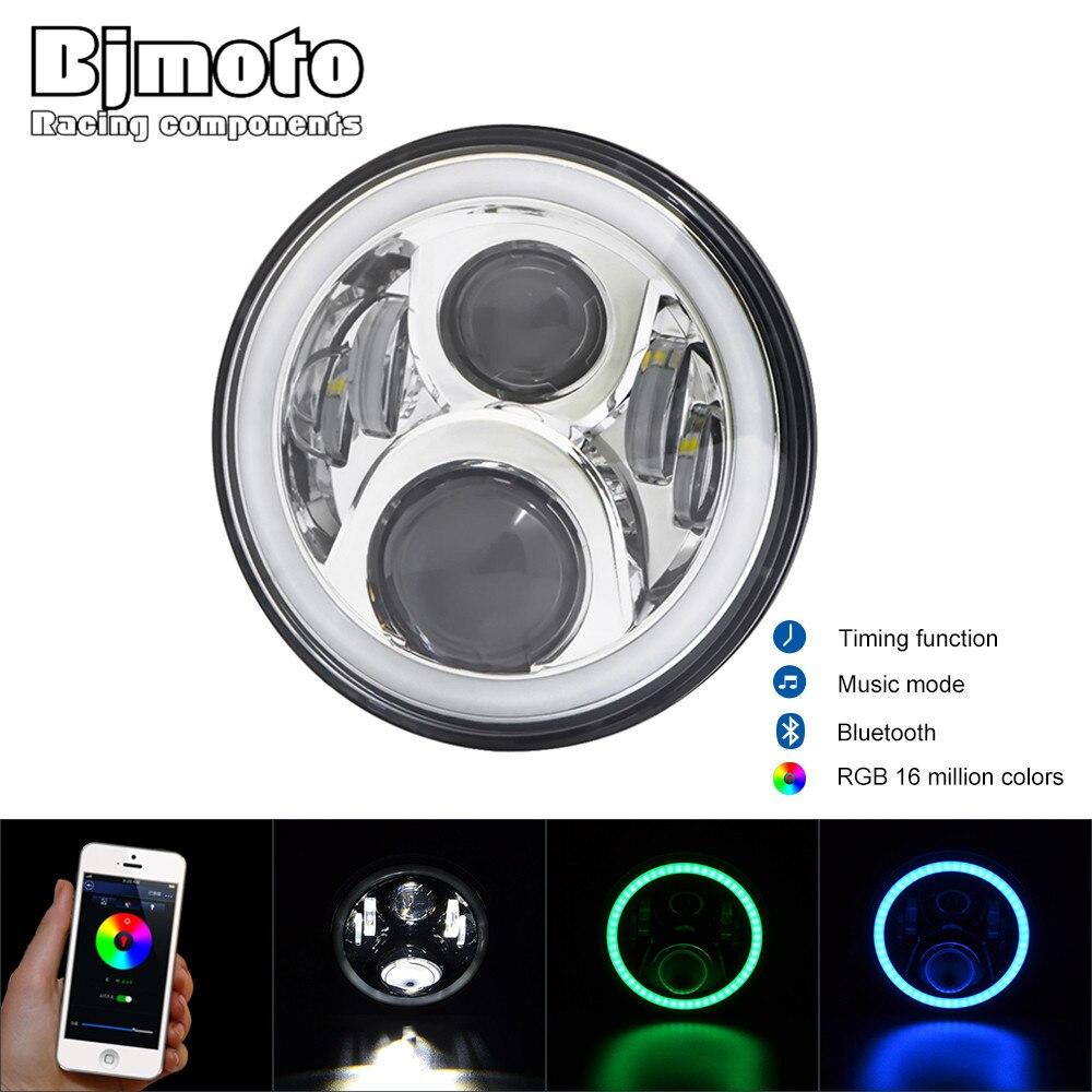 LED Headlight RGB 7 Round Offroad Lights Hi/Lo Beam DRL Wireless Bluetooth Phone App For FLS, FLSTC, FLSTF, FLSTFB, FLSTN