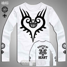 Free Shipping Japan Anime One Piece Cosplay Long Sleeve Cotton T Shirt Printing Tops Tees Men's White and Black Luffy Top Tees