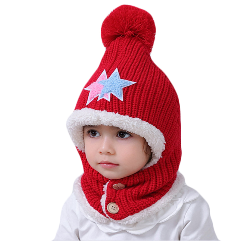 New Winter Children Plush Hat Scarf Sets Child Hooded Caps Baby Winter Hats Masked Hood Cap For Boys Girls Kids 1~12 Years Old