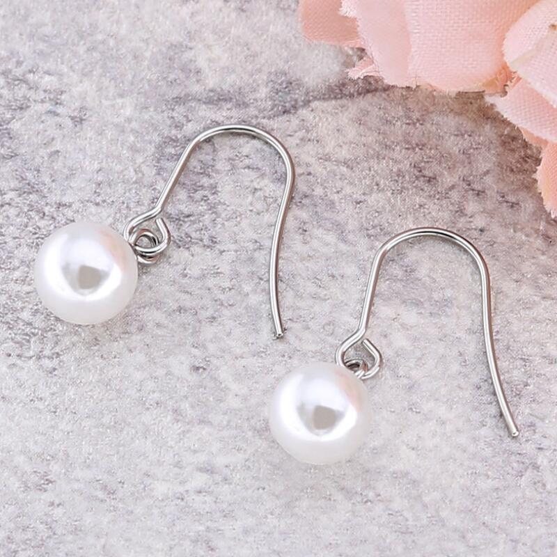 New deisgn Women Round Pearl Hook Dangle Earring Ear Drops Brincos Drop Shipping