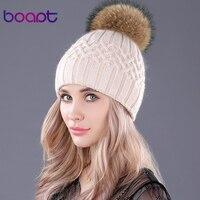 [Bopat]สองชั้นนุ่มกระต่ายหมวกถักธรรมชาติแรคคูนขนพู่ของผู้หญิงฤดูหนาวหมวกหญิงหมวกskullies beanies