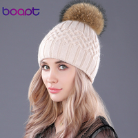 Bopat Double Layer Soft Rabbit Knitted Caps Natural Raccoon Fur Pompom Women S Winter Hats
