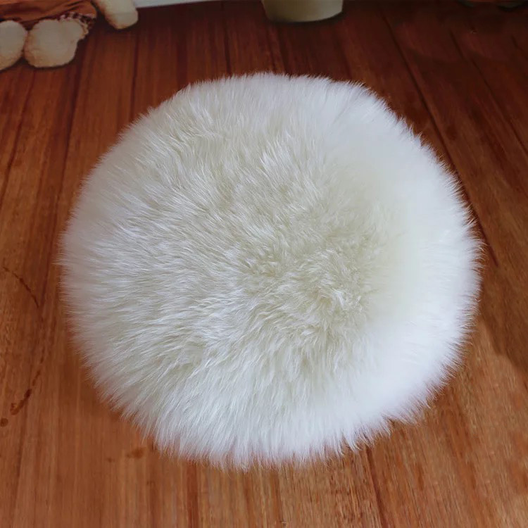 New Round Long Wool Car Seat Cover Sheepskin Fur Wool
