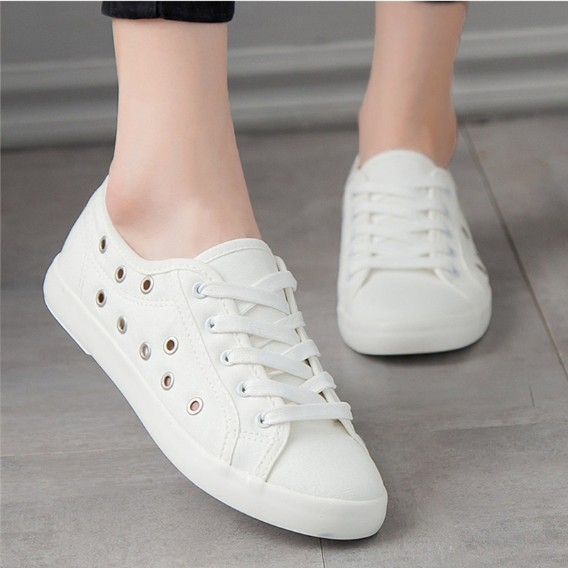 2018 Fashion Women Canvas Shoes Low Breathable Women Solid Color Flat Shoes Casual White Leisure Cloth Shoes free shipping candy color women garden shoes breathable women beach shoes hsa21