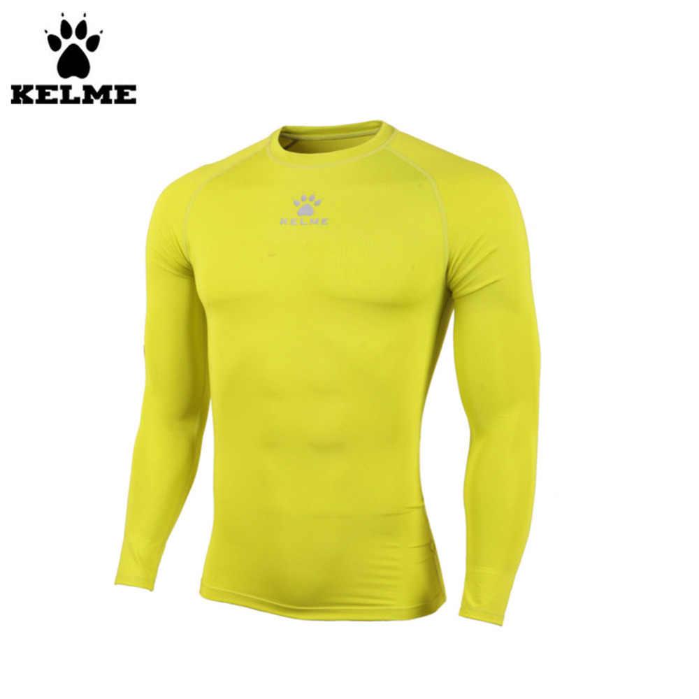 KELME Новый k15z705 Для мужчин тонкий длинным рукавом Straitjacket  флуоресцентный желтый ade9f8cad07