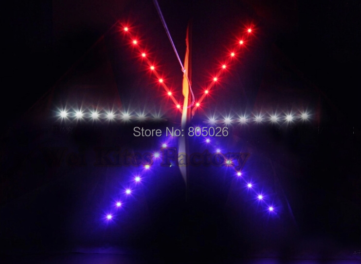 free shipping high quality 1 sq.m luminous Elf led kites 42p Super Flux with handle battery ripstop birds garden lotus volant our garden birds