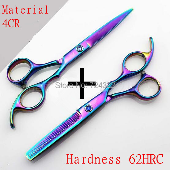 Professional Japan 440c 6 & 5.5 Inch Rainbow Cut Hair Scissors Set Cutting Shears Thinning Barber Scissor Hairdressing Scissors