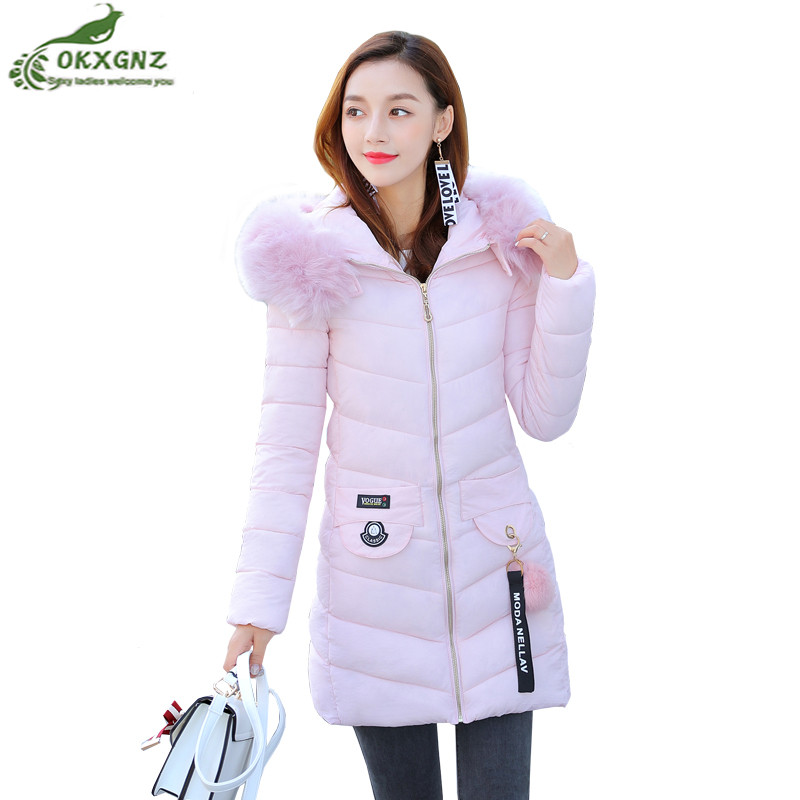 Winter women jacket coat new fur collar medium long large size Down cotton Outerwear thickening warm coat tide female OKXGNZ 2017 winter new clothes to overcome the coat of women in the long reed rabbit hair fur fur coat fox raccoon fur collar