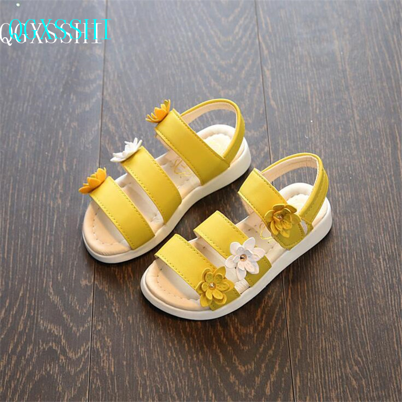 QGXSSHI Pretty Flower Kids Sandals For Girls Summer Princess Shoes Baby Toddler Children ...