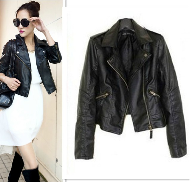 Ladies Short Black Leather Jacket - Coat Nj