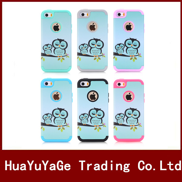 3 in 1 TPU&PC Combo Owl Pattern shockproof protective phone case for Apple iphone 5 5S 5C SE ipod touch 5 6