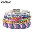 KANAK New Fashion Design Layer Wrap Beach Boho Bracelet Silver Magnetic Clasp diy snap button jewelry