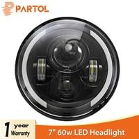 Partol 7 60W LED Headlights H4 H13 Hi Lo Beam Headlamp Projector Angel Eyes Car Light Motorcycle for Jeep CJ/Wrangler JK/Harley