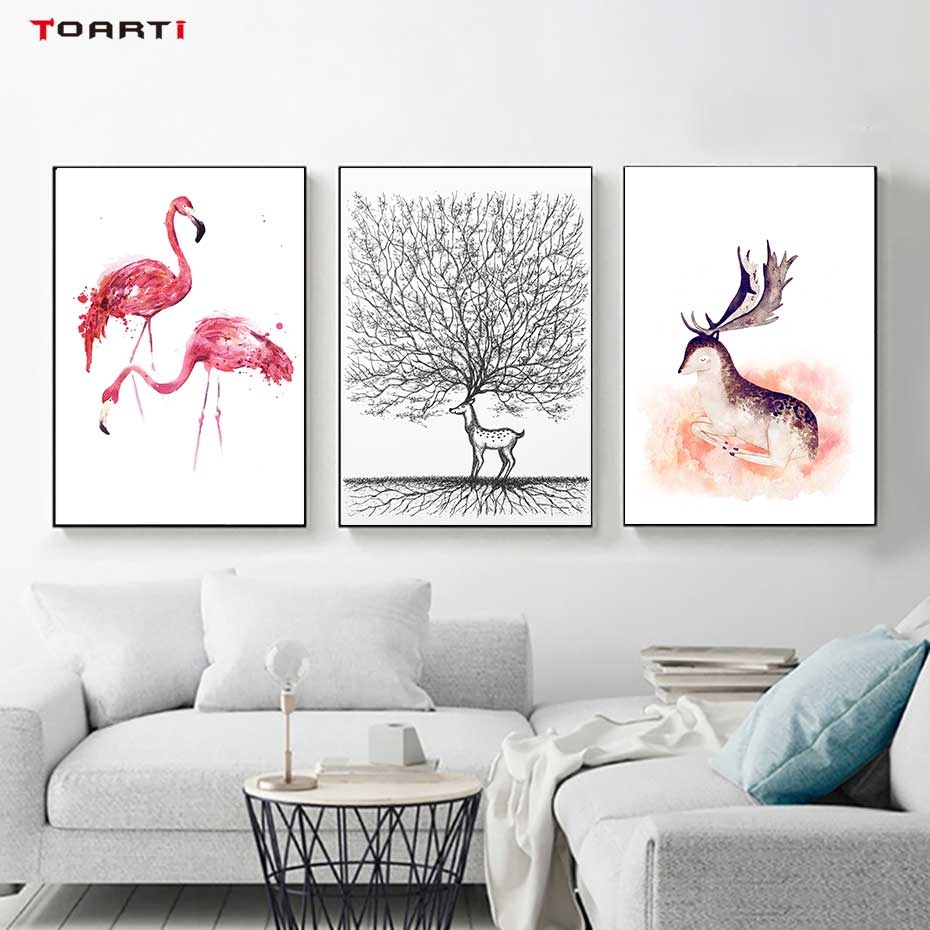 Image 3 - Cartoon Animals Prints Posters Flamingo Cat Canvas Painting On The Wall For Kids Nursery Home Decor Minimalist Tree Art Pictures-in Painting & Calligraphy from Home & Garden