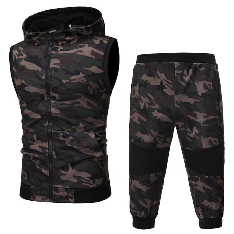 2019 Summer New Men'S Hot Classic Sports And Leisure Camouflage Set Sleeveless Vest, Camouflage Shorts 2 Piece Sports Suit 1