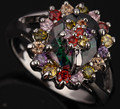 Oval Flowers Gems Mystic Rainbow Colorful Jewelry Fashion 925 Sterling Silver Women's Jewelrys Rings Size 6 7 8 9 S0365