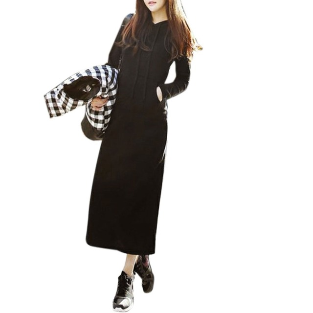 Women Black Sweater Maxi Dress Long Sleeve Slim Hooded Clothes With