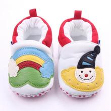 Christmas Baby Shoes Rainbow Cartoon Infant Autumn Newborn Soft Sole Anti Slip First Walker Fashion Cute Toddler Kids Crib Shoes