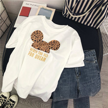 2019 New Cartoon Mouse T-Shirt Women Cotton Leopard Print Loose Oversized Tshirt Korean Cute Tee Clothes Harajuku Kawaii Tops