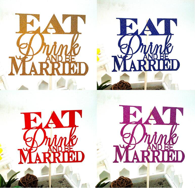 1pc Creative Wedding Cake Flag Topper Multi Colors Eat Drink Married Flags For Wedding Birthday Party Cake Baking Decor Supplies