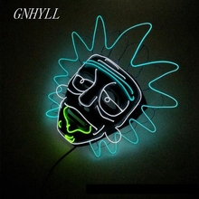 New Night Party Cosplay Lighting Grimace Mask LED Light Flashing Skull Mask Skeleton Halloween Rave Party Favor Cosplay Supplies