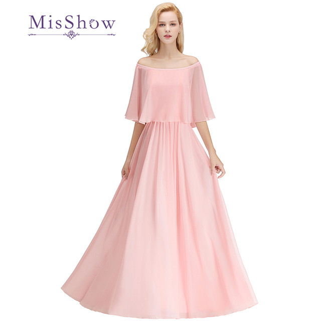 Elegant Pearl Pink Floor Length Bridesmaid Dresses A Line Off Shoulder Chiffon Wedding Guest Dress For